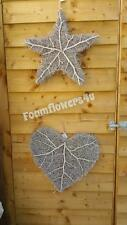 XL Silver Shabby Chic Wicker Twig Love Heart Star Christmas Door Wreath 46cm