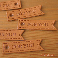 "5/ 20pcs: Flag Shape Swallowtail Synthetic PU Leather Labels ""FOR YOU"" Sewing"