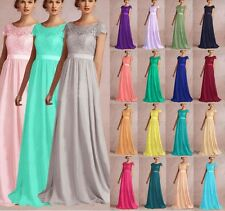 2015 Sheer Lace Cap Sleeve Evening Formal Ball Gown Party Prom Bridesmaid Dress