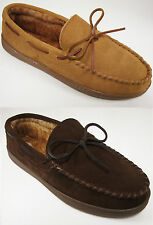 Club Room Men's Moccasin Slipper Suede Leather Warm Fur Lined Sizes: S, M, L, XL