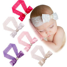 Baby Infant Kid Headband Chic Lace Pearl Bow Crystal HairBand Headwear Xmas Gift