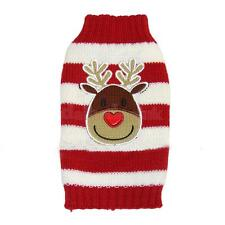 Christmas Reindeer Red White Striped Dog Puppy Sweater Clothes Apparel XXS-XXL