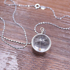 Chic Women Stylish Silver Crystal Ball Dandelion Pendant Necklace Trendy Women