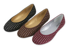 Women's Ballet Flats Rhinestone Faux Suede Casual Fashion Slip On Shoes, Sizes