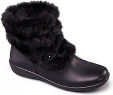 Padders KIM Ladies Womens Leather Extra Wide Fit Faux Fur Trim Ankle Boots Black