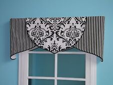 ORDER ONLY Black White Damask Tulip Valance Customize variety of piping colors
