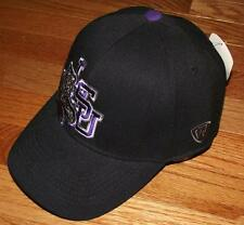 NWT NEW Louisiana State University Tigers Hat Stretch Fitted Black Cap LSU *H7