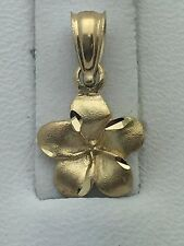 14k Solid Gold Hawaiian Plumeria Flower Pendant Available in White & Yellow Gold
