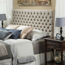 Queen Upholstered Headboard Diamond Button Tufted Design in Sand