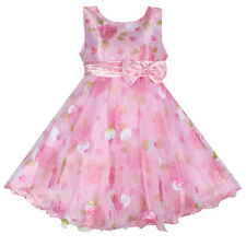 NWT Girls Dress Pink Flower Bow Tulle Party Wedding Pageant Child Clothing 2-8