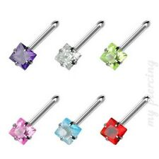 1PC. 20G~3mm Square Prong Set C.Z. Gem 316L Surgical Steel Nose Bone
