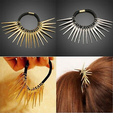 Women Punk Rock Gothic Rivets Spike Ponytail Holder Elastic Hair Rope Band Ties