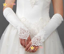 New Hot Sale White/Ivory Lace/Satin Bridal Accessories Wedding Fingerless Gloves