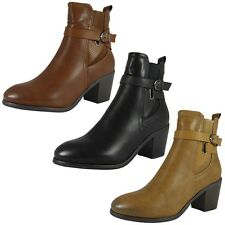 WOMENS LADIES BUCKLE STRAP ROUND TOE ANKLE LOW MID HEEL CHELSEA BOOTS SHOES SIZE