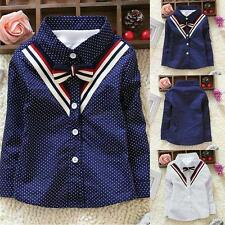 Toddler Baby Boy Kids V Neck Polka Dots Lapel Long Sleeve Shirt T-shirt Clothes