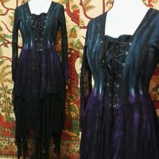 Jordash Purple Grey Tie-Dye Medieval Boho Pixie Fairy Witch Pagan Wiccan Dress M