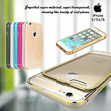 Brand New Luxury Aluminum PU Clear Back Case Cover for Apple iPhone 5 5S 6 SE