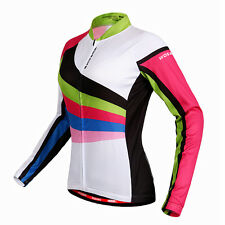 New Women Outdoor Sports Bike Cycling Bicycle Long Sleeve Jersey Tops Size S-XL