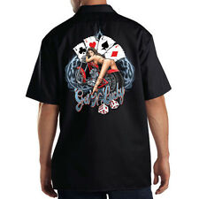 Dickies Black Mechanic Work Shirt Get Lucky Four Aces Dice Biker Pin Up Girl