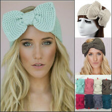 Bow Knot crochet handmade knit headband women warm winter hairband head wrap