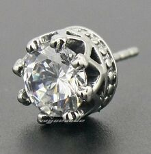 316L Stainless Steel CZ Stone Crown Mens Stud Earrings 3L004A