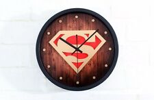 Superman Wall Clock with Glass Cover Silent Kids Room Decor
