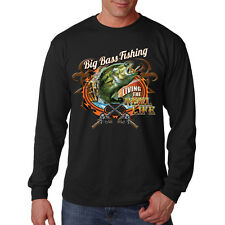 Big Bass Fishing Living The Reel Life Fish Lovers Long Sleeve T-Shirt Tee