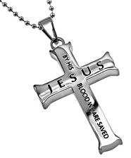 Romans 5:9 Jewelry JESUS Cross Necklace Bible Verse, Stainless Steel Ball Chain