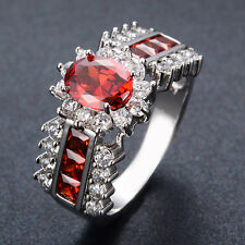 Fashion CZ Red Ruby Zircon Womens 10KT White Gold Filled Engagement Ring Sz 5-12