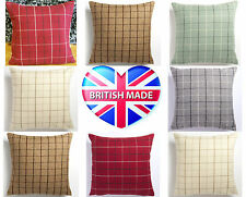 """Tartan Check 5 Colours Wool Effect Cushion Cover Pillow Case 17"""" x 17""""  UK MADE"""