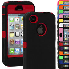 Shock Proof Hybrid Body Defender Hard Protective Case Cover For iPhone 4 4S