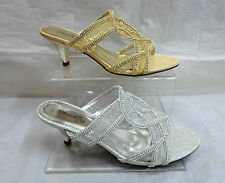 LADIES OPEN TOE GLITTERY PARTY EVENING MULES SANDAL,GOLD OR SILVER LSA-4524