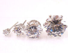 Men New White Gold Plated Studs Earrings Simulated Diamond Daily 3 4 5 8 10mm