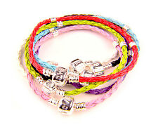 Leather Charm Bracelet 3mm Coupling Braided Woven (Fit European Beads)
