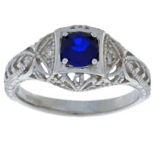 0.50 Ct Blue Sapphire & Diamond Round Ring .925 Sterling Silver