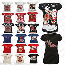 New Ladies Women's Cap Sleeve Cotton Rudolph Santa Xmas Party T Shirt Top 6-20