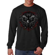 Dragon Rising Tiger Ying Yang Symbol Asian Tattoo Style Long Sleeve T-Shirt Tee