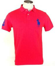 Ralph Lauren Custom Fit Red Short Sleeve Polo Shirt Big Blue Polo Pony Mens