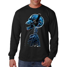 Blue Skull Listening To Headphones Skeleton Music Lovers Long Sleeve T-Shirt Tee