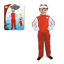 BOYS RED RACING CAR F1 DRIVER BOILER SUIT OVERALL FANCY DRESS UP COSTUME OUTFIT