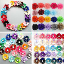 10/30 Satin Ribbon Flowers Bows with Appliques Sewing DIY Craft Wedding 2 Sizes