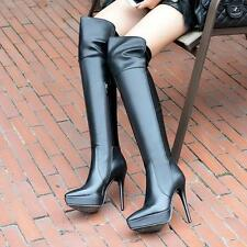 Womens Over the Knee high Boots Leather Stilettos High Heel Party Shoes Vogue Sz