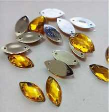15mm x 7mm DIY 2-Holes Sew-On Navette Flatback Golden Yellow Rhinestones