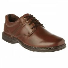 Hush Puppies BENNETT Mens Casual Comfy Leather Lace Up Dual Fit Shoes Brown