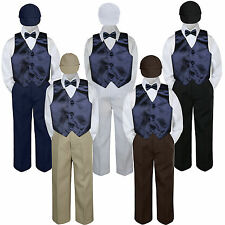 Boys Baby Toddler Kids Navy Blue Vest Bow Tie Formal Set Suit Hat S-7