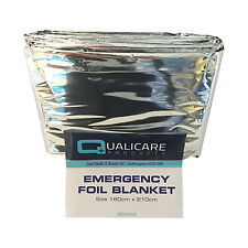 QUALICARE THERMAL EMERGENCY FOIL SPACE FIRST AID SURVIVAL SILVER FOIL BLANKET
