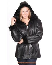 WOMEN'S MID-LENGTH PARKA GENIUNE LEATHER FULLY LINED WITH HOOD & FRONT ZIPPER