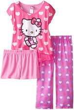 HELLO KITTY Girls' All Over Hearts 3-Piece Pajama Set Sizes 4,6,8,10 PJ