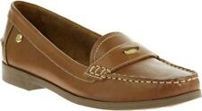 Hush Puppies IRIS SLOAN Ladies Womens Leather Comfy Loafer Flat Pump Shoes Tan