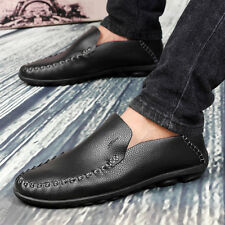 Mens Casual Genuine Leather Soft Flats Slip On Loafer Driving Shoes Moccasins